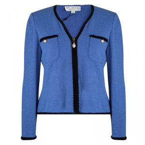 St. John Empire Blue Contrast Trim Detail Boucle Jacket L