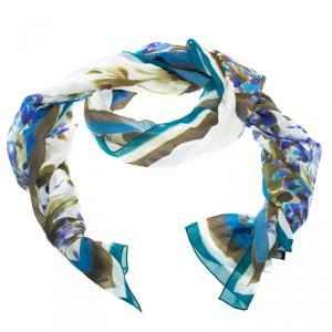 St. John Budding Floral Print Silk Scarf