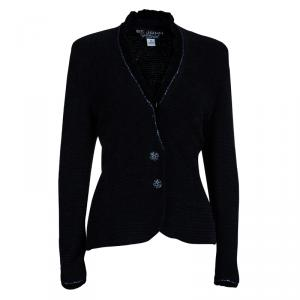 St. John Black Collarless Embellished Blazer M