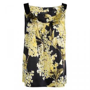 St. John Floral Printed Silk Gathered Sleeveless Top L