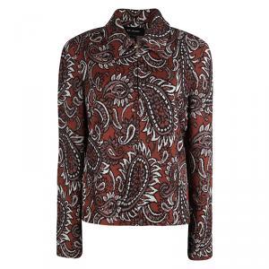 St. John Burnt Orange Knit Paisley Jacquard Zip Front Jacket L