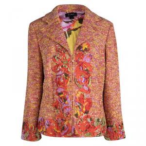 St. John Multicolor Tweed Floral Applique Detail Zip Front Blazer L
