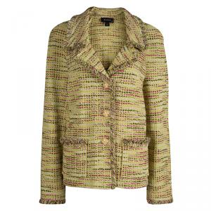 St. John Lime Green Fringed Edge Tweed Jacket XL