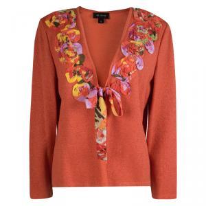 St. John Orange Lurex Knit Floral Applique Detail Cardigan L