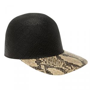Stella McCartney Black Straw and Faux Python Baseball Cap Size 57