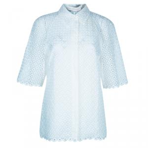 Stella McCartney White Cut Out Embroidered Top M