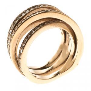 Swarovski Crystal Studded Rose Gold Tone Fancy Band Ring Size 52