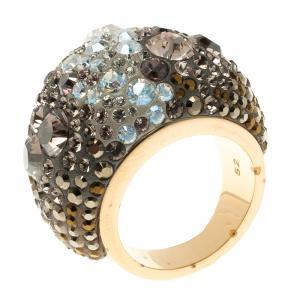 Swarovski Crystal Studded Gold Tone Ring Size 52