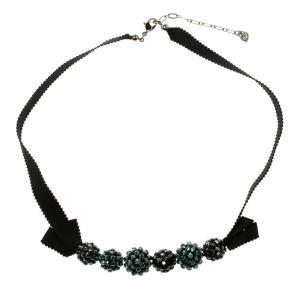 Swarovski Blue Crystal And Ribbon Choker Necklace