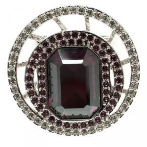 Swarovski Purple Crystal Studded Silver Tone Ring Size 52