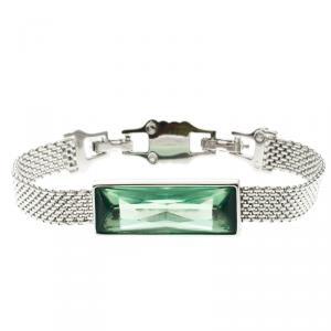 Swarovski Green Crystal Silver Tone Bracelet 17cm