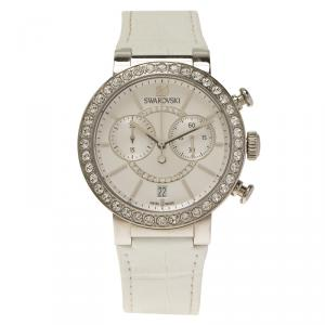Swarovski Silver Stainless Steel Crystal Citra Sphere Chrono Women's Wristwatch 38MM