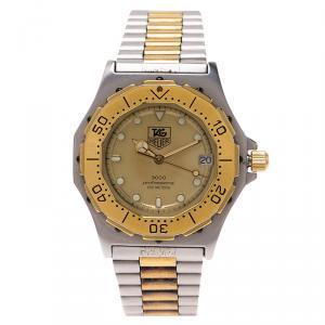 ساعة يد نسائية تاغ هيوير 3000 بروفيشنال ستانلس ستيل مطلي بالذهب رصاصي 38 مم