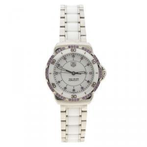 ساعة يد نسائية تاغ هيوير فورمولا1 خمشت وستانلس ستيل سيراميك بيضاء 32 مم
