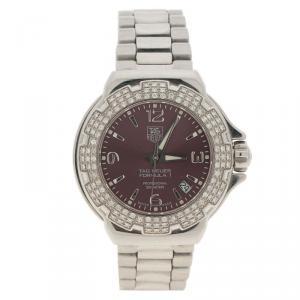 Tag Heuer Burgundy Stainless Steel Diamond Formula 1 WAC1219  Women's Wristwatch 35MM