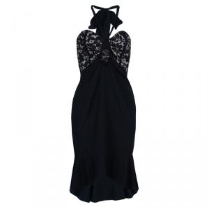 Temperley Black Lace Halterneck Dress M