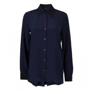 قميص ذا رو حرير أزرق كحلي بأكمام طويلة وأزرار أمامية M