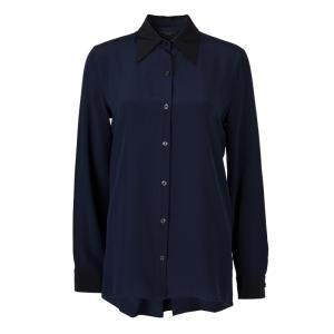 The Row Navy Blue Silk Long Sleeve Button Down Shirt M
