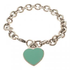 Tiffany & Co. Return To Tiffany Enamel Heart Tag Silver Bracelet 19cm