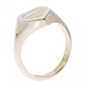 Tiffany & Co. Return to Tiffany Heart Signet Silver Ring 55