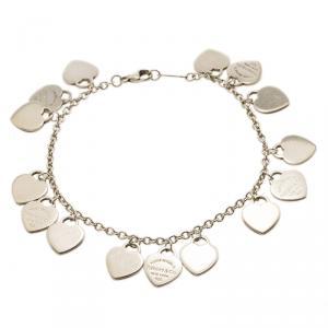 Tiffany & Co. Return to Tiffany Mini Heart Tag Silver Charm Bracelet 18cm