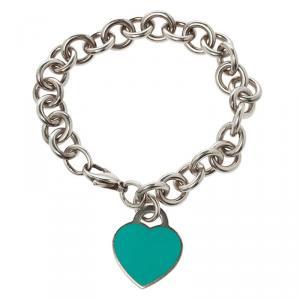 Tiffany & Co. Return To Tiffany Blue Enamel Heart Tag & Silver Bracelet 19cm