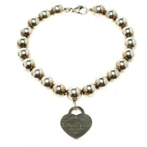 Tiffany & Co. Return To Tiffany Heart Tag Silver Bead Bracelet 18cm