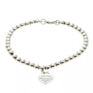 Tiffany & Co. Return to Tiffany Heart Tag Silver Beads Bracelet 17cm