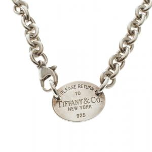 Tiffany & Co Return To Tiffany Oval Tag Silver Necklace