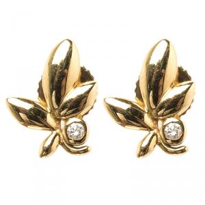 Tiffany & Co. Paloma Picasso Olive Leaf Diamond & 18k Yellow Gold Earrings