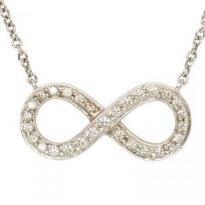 Tiffany & Co. Infinity Diamond & Platinum Pendant Chain Necklace