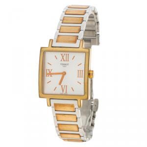 ساعة يد نسائية تيسوت تي-ترند هابي شيك ستانلس ستيل وذهب وردي فضية 29 مم