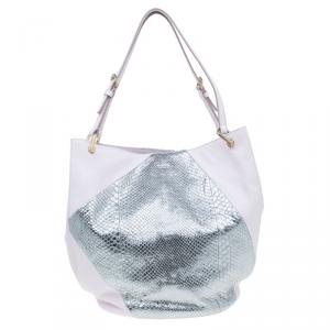 Tod's Pink/Silver Leather and Python Medium Horse Secchiello Tote