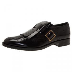 Tod's Black Leather Fringe Brogue Derby Size 39.5