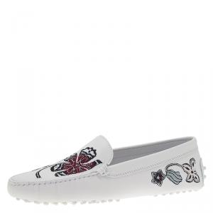Tod's White Leather Floral Embroidered Loafers Size 38