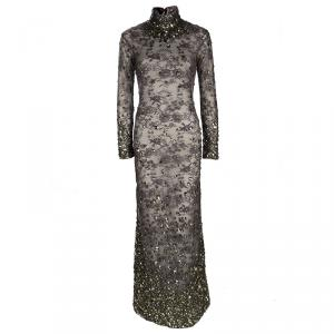 Tom Ford Grey Floral Lace Crystal Embellished Gown S