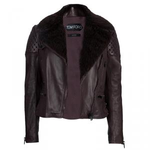 Tom Ford Burgundy Fur-Trim Quilting Detail Leather Jacket S