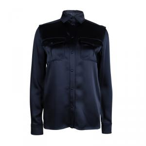 Tom Ford Navy Blue Satin Long Sleeve Button Down Shirt S