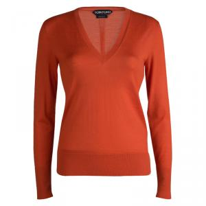 Tom Ford Red Cashmere V-Neck Sweater S