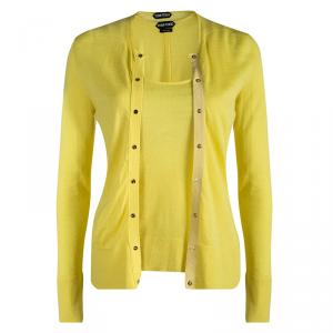 Tom Ford Yellow Cashmere Top and Cardigan Set S