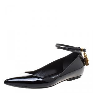 Tom Ford Black Patent Leather Ankle Wrap Lock Ballet Flats Size 37