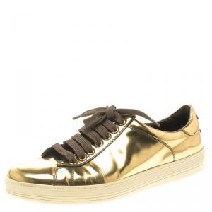 Tom Ford Gold Metallic Leather Low Top Sneaker Size 39