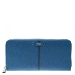 Tumi Blue Leather Chelsea Zip Around Continental Wallet