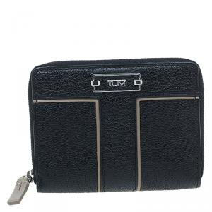 Tumi Black Leather Zip Around Wallet