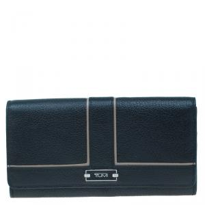 Tumi Black Leather Chelsea Continental Flap Wallet