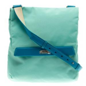 Tumi Mint Blue Nylon Crossbody Flap Bag