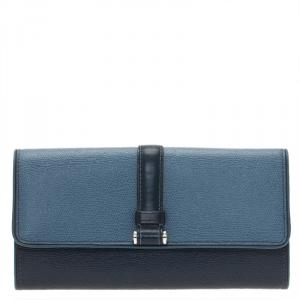Tumi Blue Leather Buckle Detail Continental Wallet