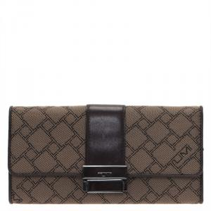 Tumi Brown Leather and Canvas Logo Continental Flap Wallet
