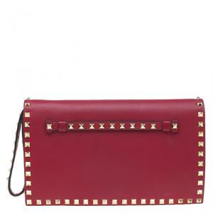 Valentino Red Leather Rockstud Flap Wristlet Clutch