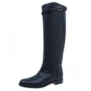 Valentino Black Leather Rockstud Buckle Riding Knee Boots Size 39.5